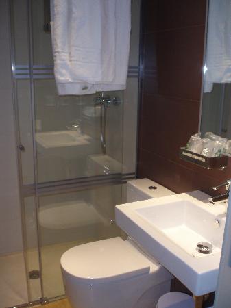 Hotel Alhambra: Baño moderno (sin secador)