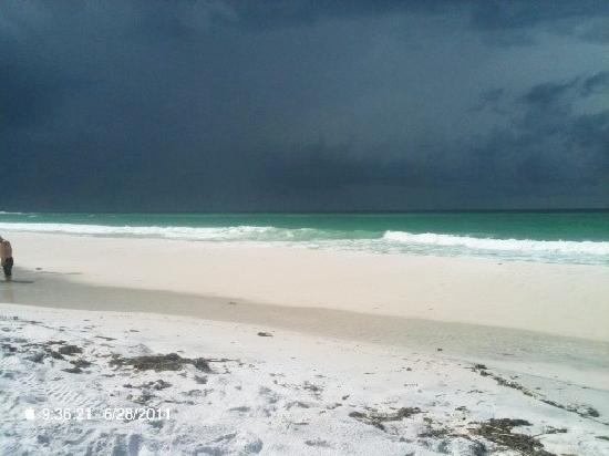 Santa Rosa Beach, FL: The beach at Topsail, the rain just missed us.