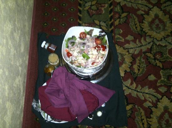 Crowne Plaza  Resort Asheville: greek salad outside our room (not ours)