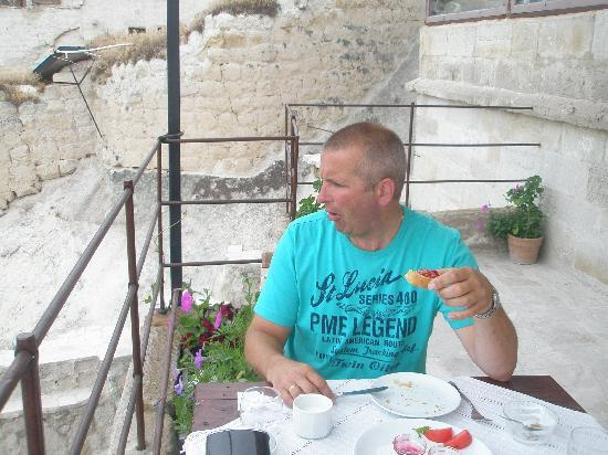 at the terrace in the Aydinli cave hotel