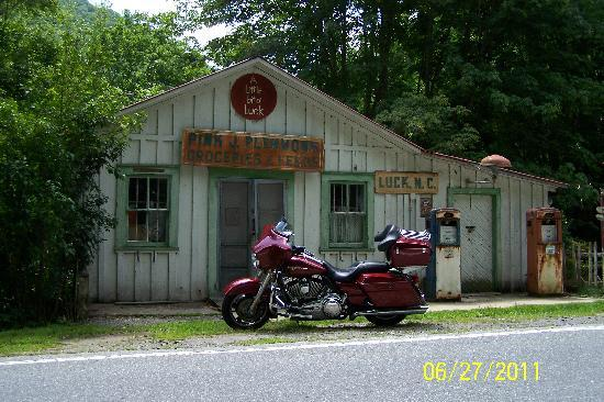 The Clarketon Motel: Jim's bike in front of old gas station