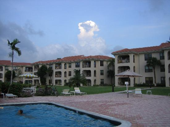 George Town Villas: Looking at our condo from the pool