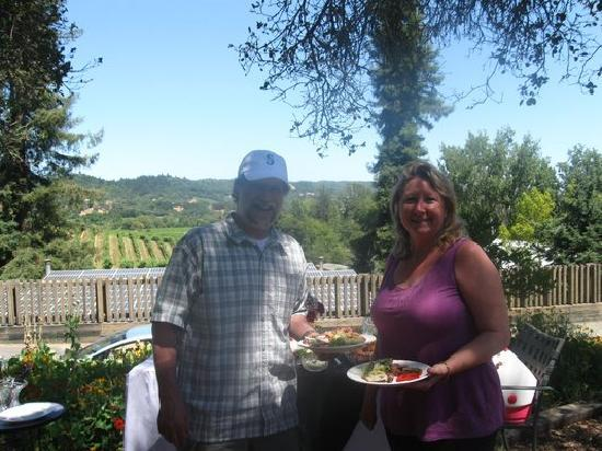 Intimate Wine Tours: Intimate Wine Tour clients enjoying their gourmet picnic lunch at Raymond Burr Winery in the pic