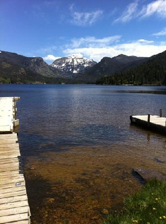 Shadowcliff Lodge: Grand Lake & Mt. Baldy, seen from west end of lake near Point Park