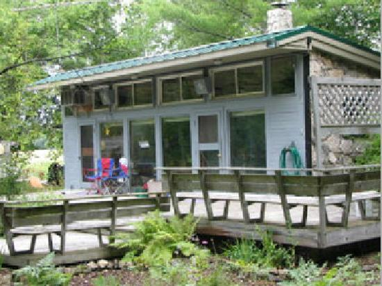 Door County Cottages: The Fieldstone has a wonderful bank of windows facing a forest and open land.