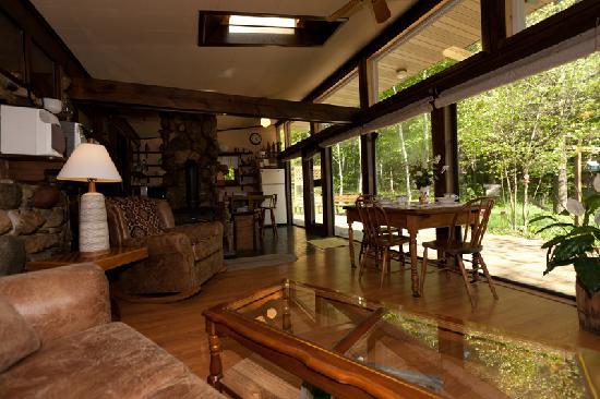 Door County Cottages: Fieldstone: The natural view from the open floor plan kitchen and living space is very relaxing.