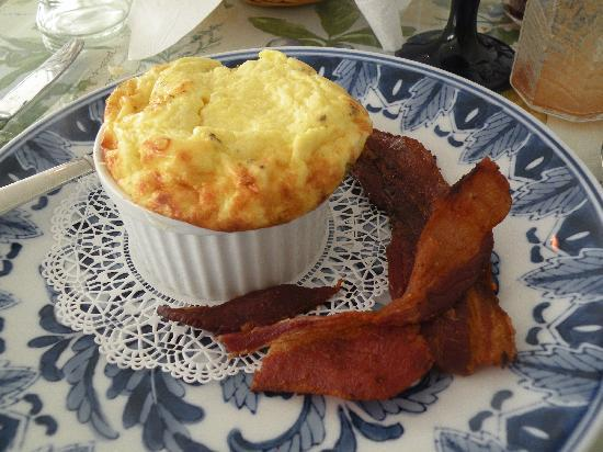Grape Arbor Bed and Breakfast: Cheese Souffle alongside man's best friend - Bacon!