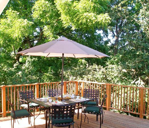 McKenzie Orchards Bed and Breakfast Inn: Breakfast al fresco on our deck