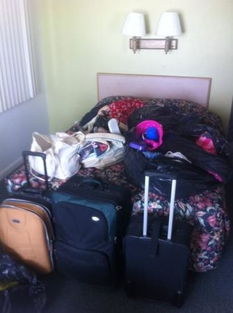Bikini Beach Resort Motel: all my stuff in trash bags because THEY double booked my room, then THEY moved my stuff while I
