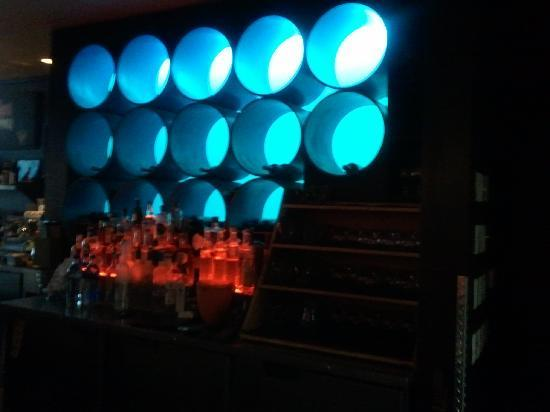 Ashmont Grill bar with blue backlighting