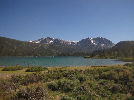 June Lake Pines: swimming beach near motel