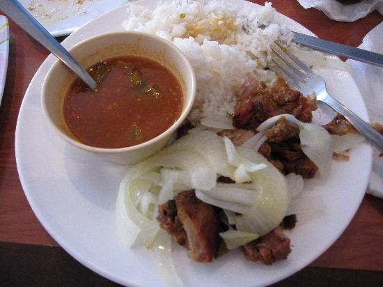 Orozco's Restaurant : fried pork and onions, rice and beans