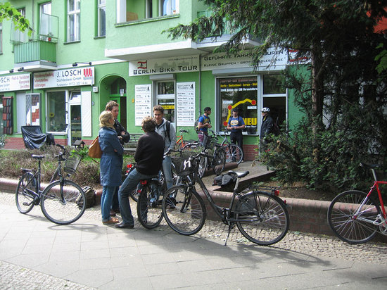 Berlin Bike Tour: We gather in front of the shop for a few safety tips