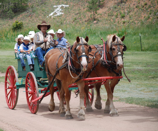 Tarryall River Ranch: Wagon ride with Bonnie and Blanche!