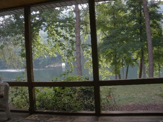 Rumbling Bald Resort on Lake Lure: View from the screened-in porch