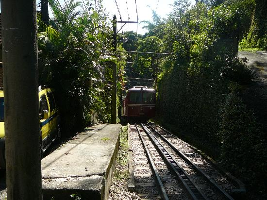The Corcovado tram and on the right ramp to Casa Caminho do Corcovado