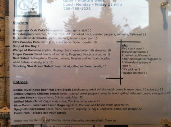 CK's Real Food: dinner menu