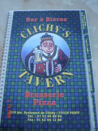 Clichy's Tavern: Graet menu at Clichy's.