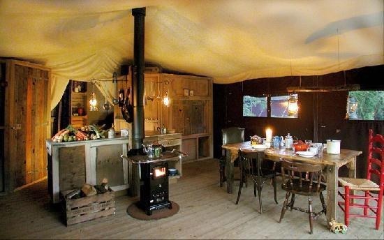 Stony Creek Farmstead: The interior of the 484 square feet Feather Down tent with 3 separate sleeping quarters