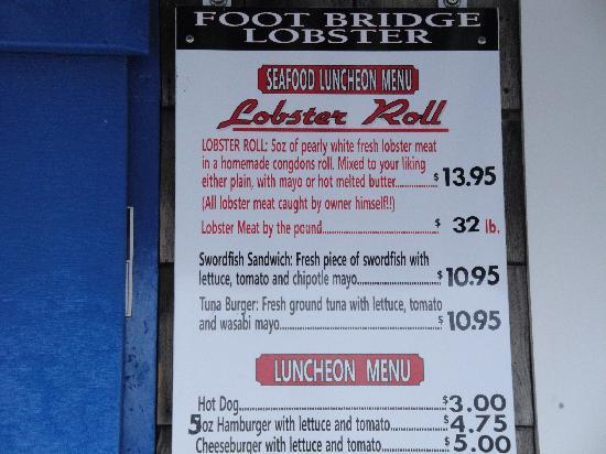 Footbridge Lobster : Some Menu prices