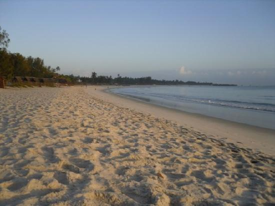 Kipepeo Beach Village: The beach, huts to the left