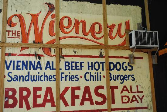 Wienery: Restaurant right next to sign