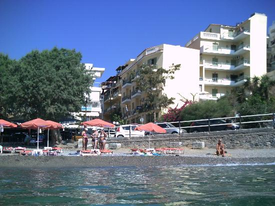 Mare-Olympus Apartments : Hotel from beach, 2 buildings on right