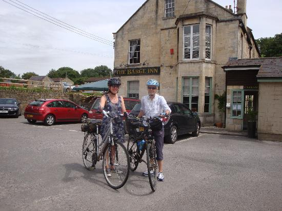 The Barge Inn: On our bikes outside