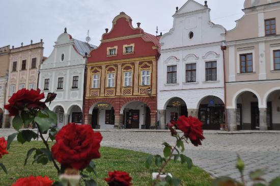 Hotel Celerin: A view of some of the Renaissance buildings of Telc.
