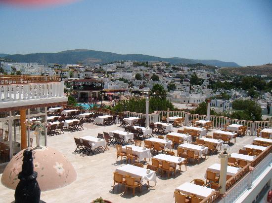 Palm Garden Hotel: outdoor restaurant - brilliant view