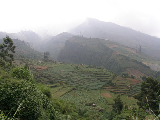 Java, Endonezya: Landschaft bei Dieng