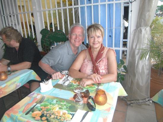 Calypso Dinner Cruise: Hubby and I at LaPetit Auberge