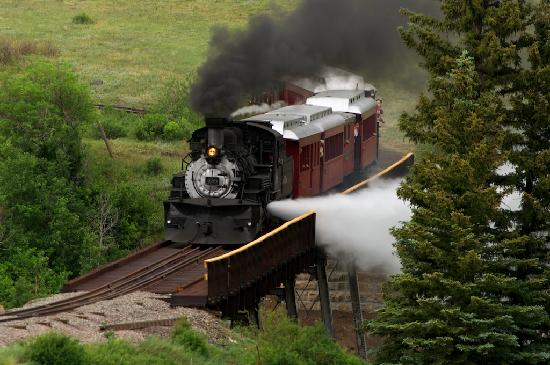 "Antonito, CO : ""blowing off steam"" at the new trestle"