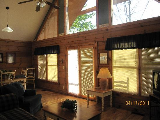 Country Pines Log Home Resort: Living room windows