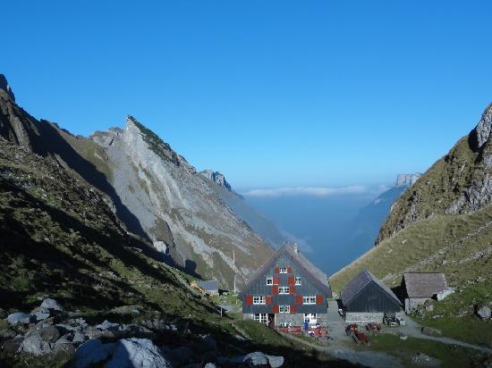 Berggasthaus Mesmer : Aussicht in Richtung Tal (Wasserauen)