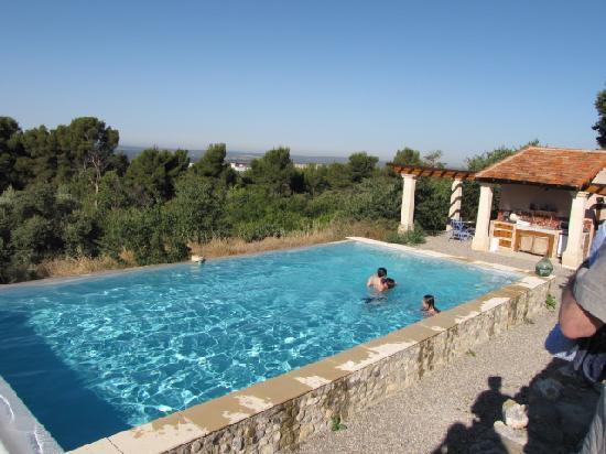Le Pavillon de Beauregard : Pool and outdoor kitchen