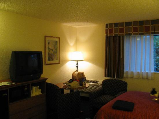 Quality Inn & Suites : TV, Microwave, and Fridge area