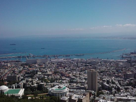 Dan Carmel Haifa: Street level view from the rear of the hotel.  As it is located on the top of Mt. Carmel, this v