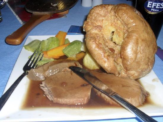 Sami Beach Hotel: dinner at hotel,  Roast dinner and yes that is a yorkshire pudding :)