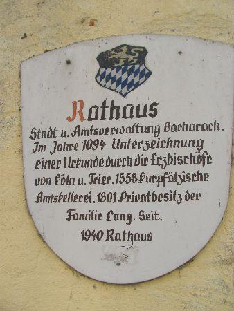 Former Town Hall (Alter Zollhof): plaque