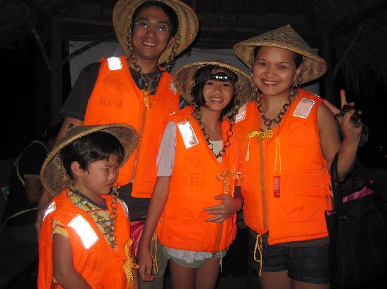 """Firefly Watching : my whole family armed with our life vests & """"salakot' (local hand-woven hats)"""