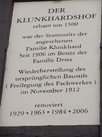 Klunkhardshof: plaque