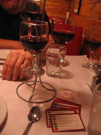 Garlic Mike's Italian Cuisine: Wine flight tree and trivial pursuit cards