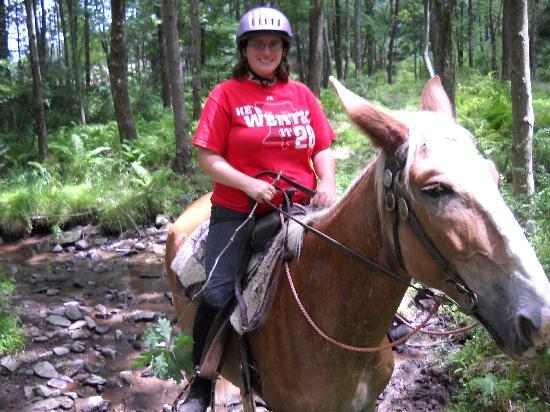 Pocono Adventures Riding Stable: Me riding Blaze on the trail :)