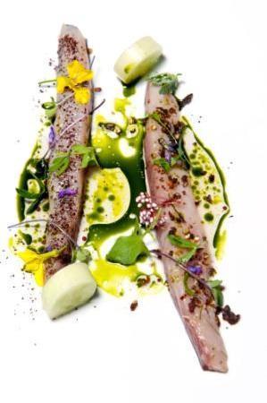 Aniar Restaurant: Cured mackerel, cucumber, beach herbs, horseradish