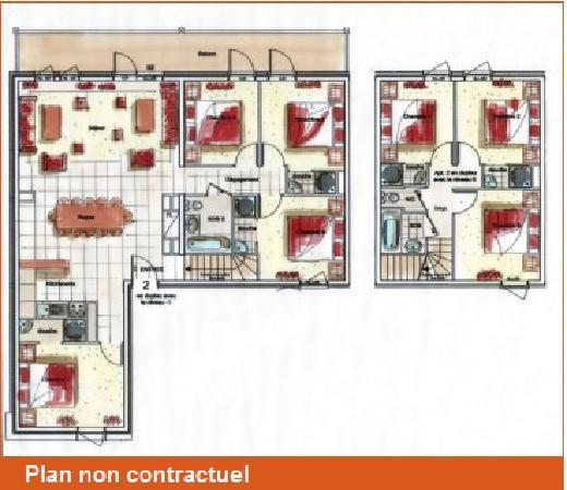 Residence le Chalet des Neiges : Appartement 14/16 pers. Luxe Duplex (sous toit) - 160m²