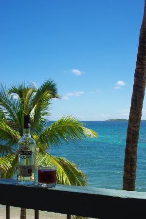 South Coast, St. Thomas: View from our balcony. (Yes, the rum came with the room)!