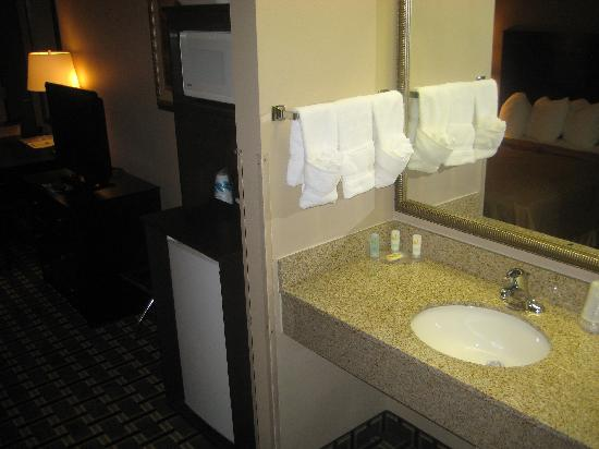 Quality Inn & Suites : In room vanity and fridge/microwave/tv to the left