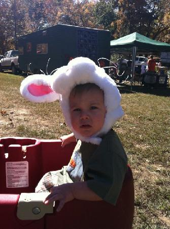 Whippoorwill Lake Family Camping: My son going for a ride in his costume