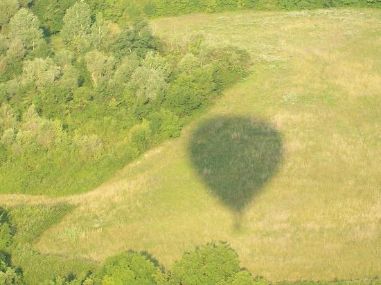 Tuscany Ballooning: Early morning shadow from our balloon!